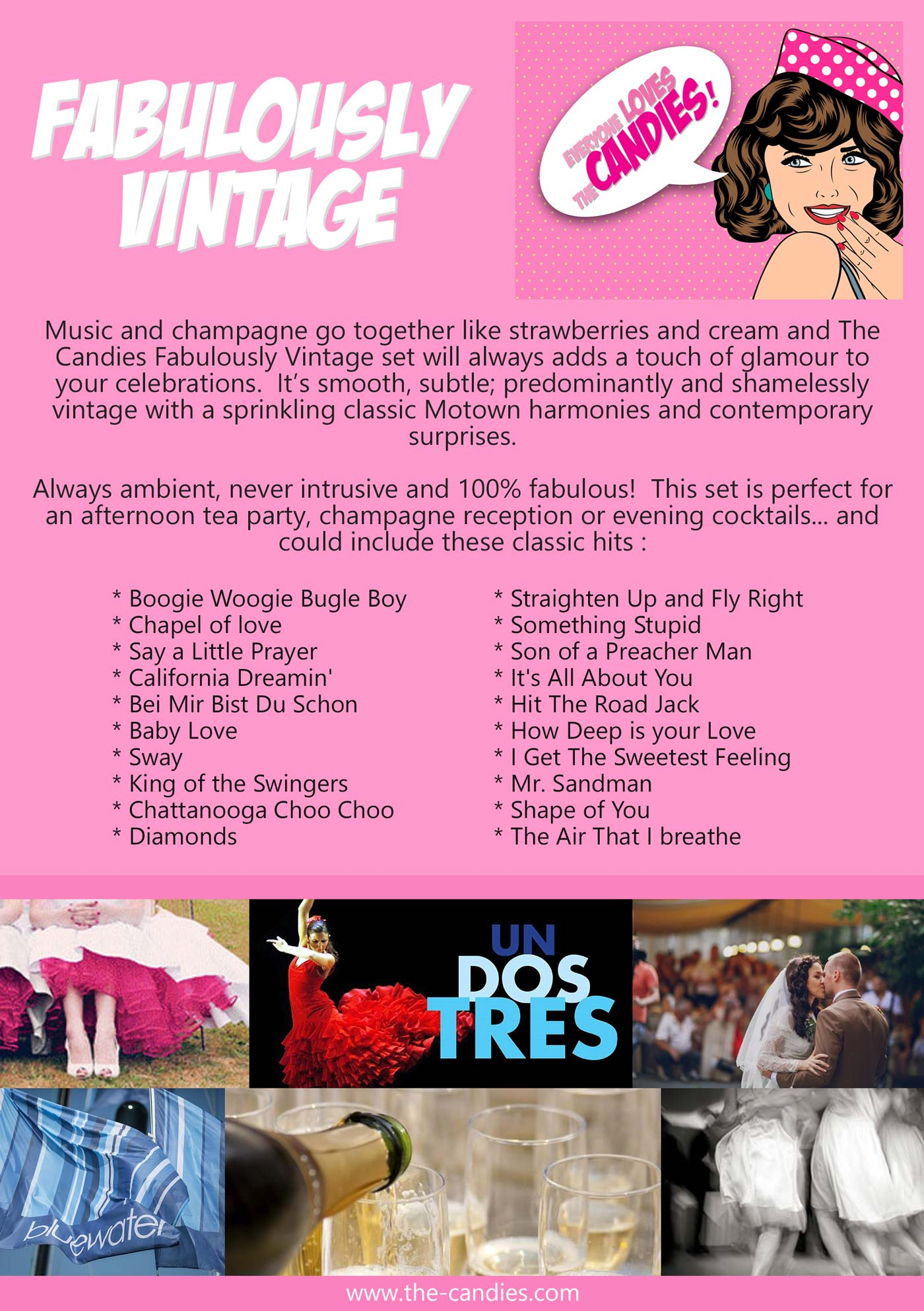 The Candies provide Fabulously Vintage Cocktail Music for parties and weddings